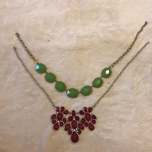 Jewelry - Green & pink statement necklace 2-pack